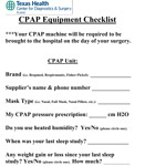 THCDS CPAP Equipment Checklist