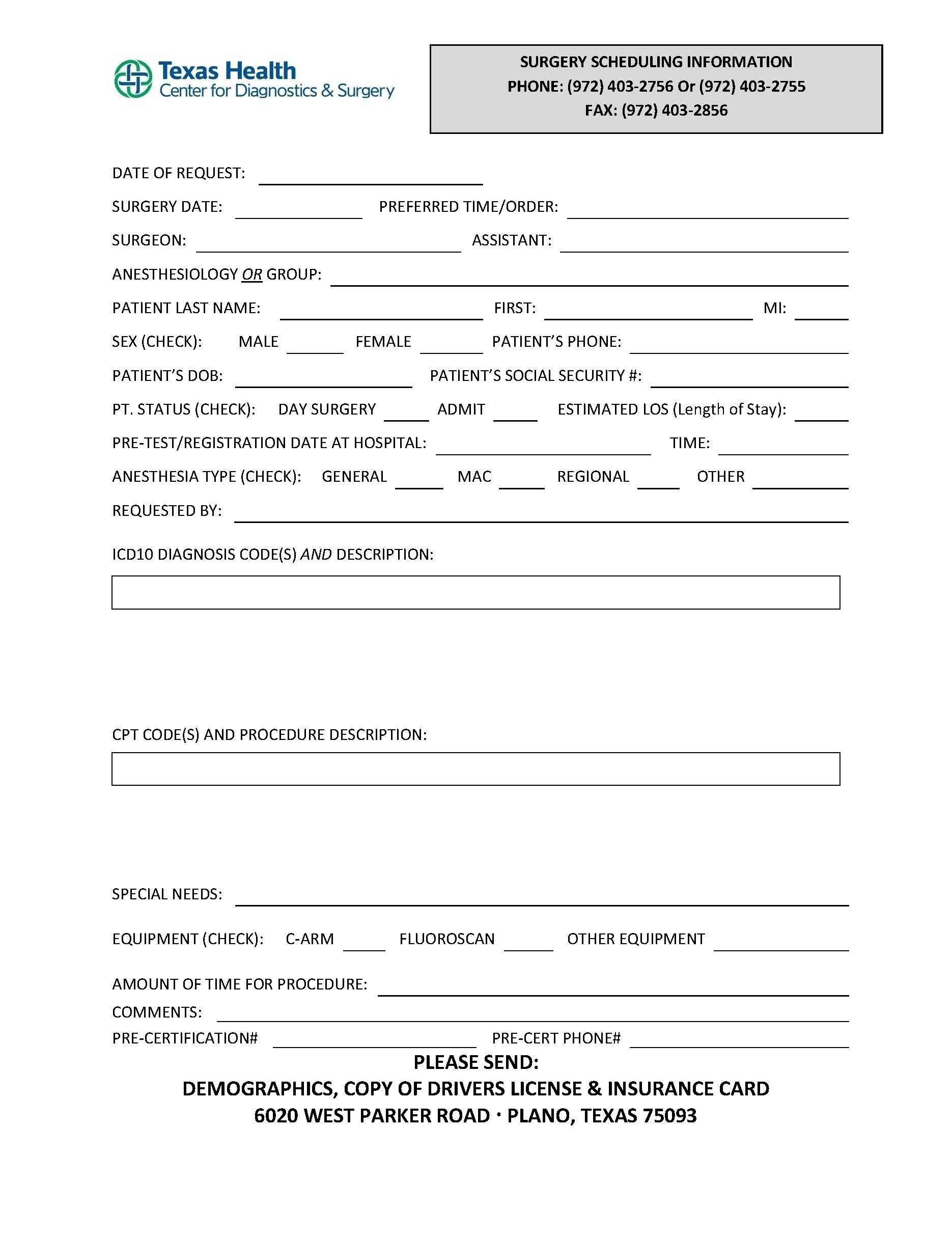 Surgery Scheduling Form