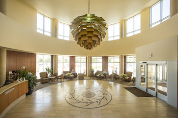 Natural lighting fills the comfortable, serene lobby at Texas Health Center for Diagnostics and Surgery in Plano Texas